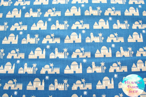 Pure & Simple Christmas Bethlehem Cobalt Blue Cotton Fabric