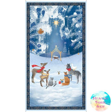 Woodland Dream Blue Nativity Cotton Fabric Panel