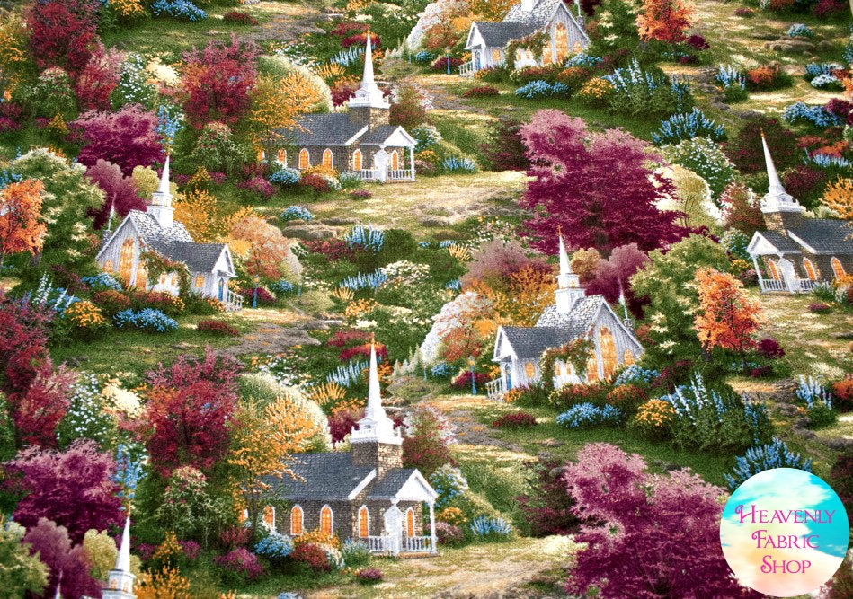 Spring Chapel Little Country Churches Thomas Kinkade Cotton Fabric