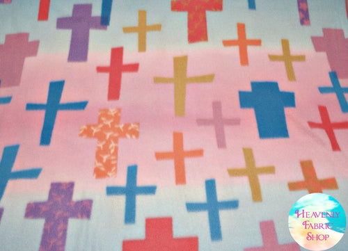 Colorful Crosses Blizzard Fleece Fabric