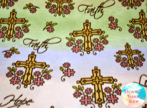 Love and Faith Cross Blizzard Fleece Fabric