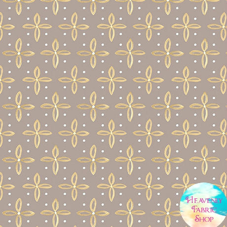 Woodland Dream Star Foulard Cross Taupe Cotton Fabric