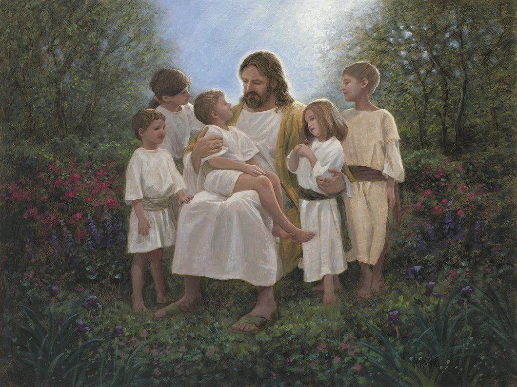 Jesus and the Little Children Cotton Fabric Panel