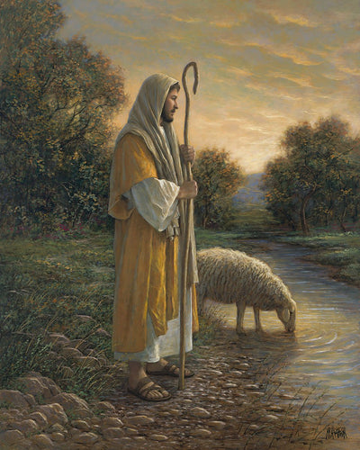 Jesus Good Shepherd Large Cotton Fabric Panel
