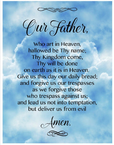 Lord's Prayer Our Father Sky Cotton Fabric Panel