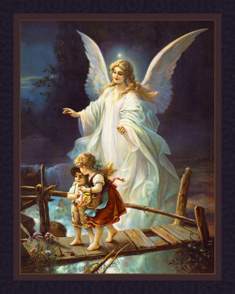 Guardian Angel and Children Cotton Fabric Panel