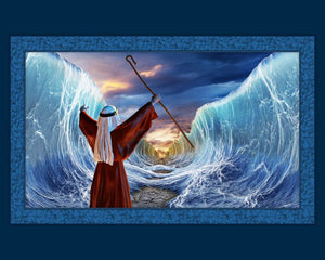 Moses Parts The Sea Cotton Fabric Panel