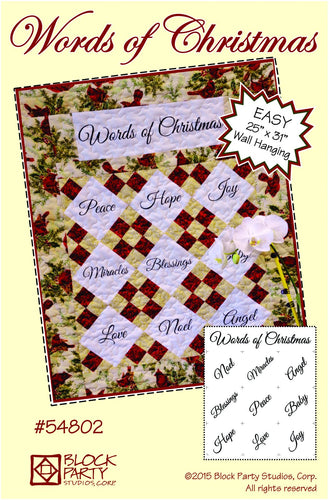 Words of Christmas Quilt Pattern & Fabric Panel Kit