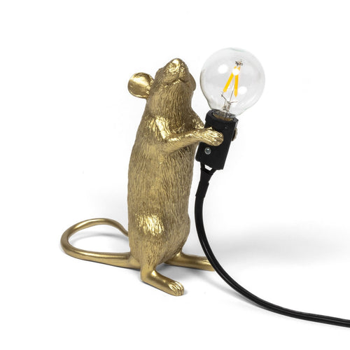 Mouse Lamp Gold Standing - European Plug