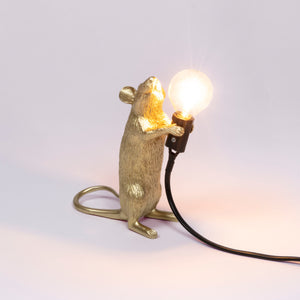Mouse Lamp Gold Standing - UK Plug