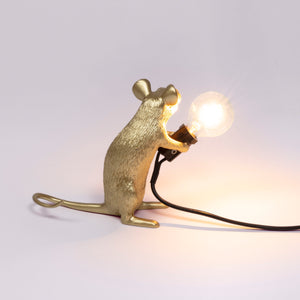 Mouse Lamp Gold Sitting - UK plug