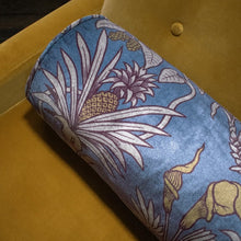 Load image into Gallery viewer, Botanize Heritage Whale Blue Velvet Bolster Cushion