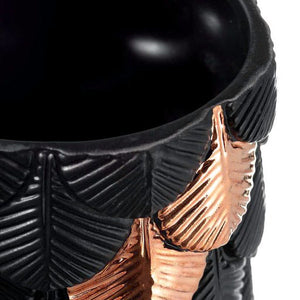 Black Plumage Ceramic Vase With Rose Gold Details
