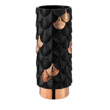 Load image into Gallery viewer, Black Plumage Ceramic Vase With Rose Gold Details
