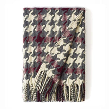 "Load image into Gallery viewer, ""Pied-de-Coq"" Woolen Woven Blanket White Pearl, Burgundy And Grey"