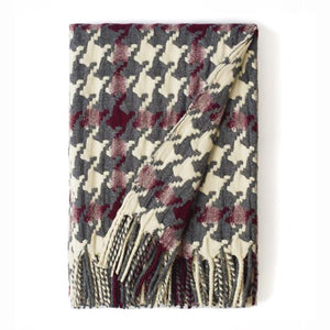 """Pied-de-Coq"" Woolen Woven Blanket White Pearl, Burgundy And Grey"