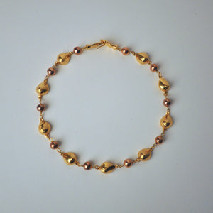 Breasts And Pearls Gold Plated Choker