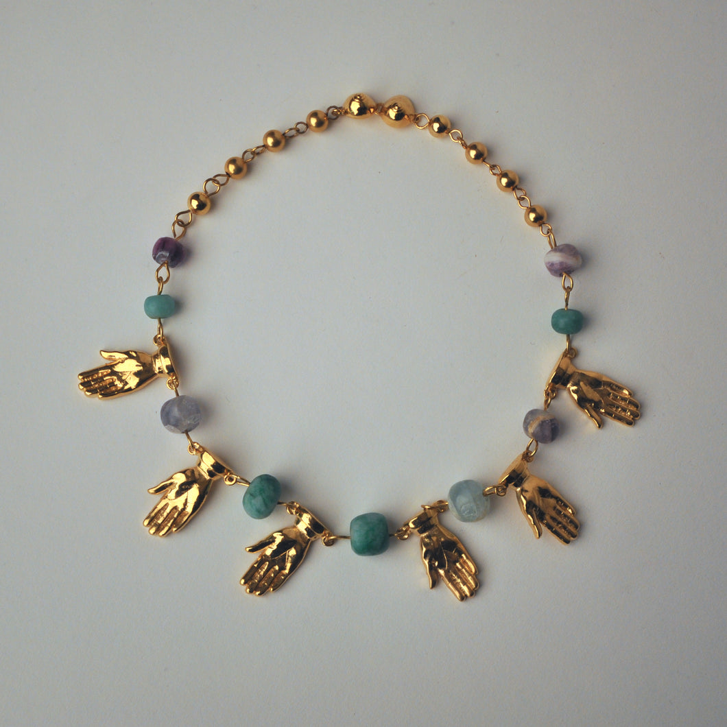 Gold Hands and Colored Stones Necklace
