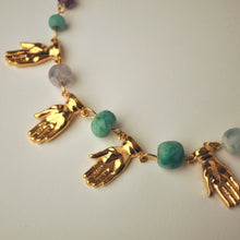 Load image into Gallery viewer, Gold Hands and Colored Stones Necklace