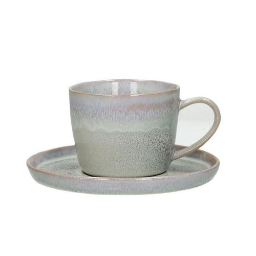 Flocon Taupe Glazed Cup and Saucer