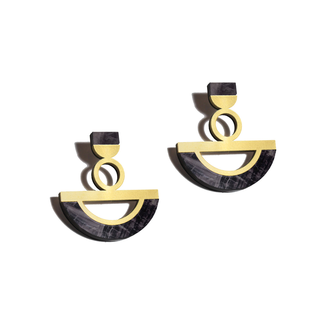 Ife Earrings - Black Marble