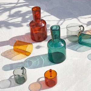 Lasi Colored Borosilicate Glass Carafe And Cup - 4 Colors