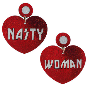 """Nasty Woman"" Heart Shaped Perspex Earrings"