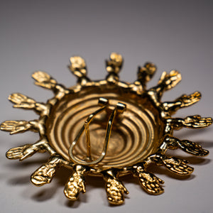 Aztec Sun Earrings with Miniature Hands