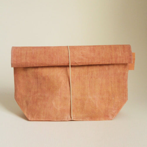 Waxed Linen Roll-top Bag - Pink