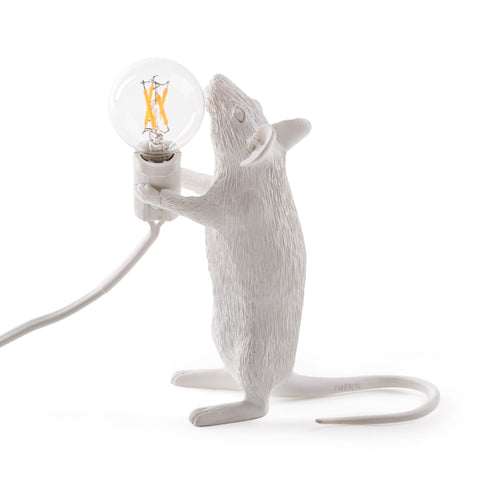 Mouse Lamp White Standing - UK Plug