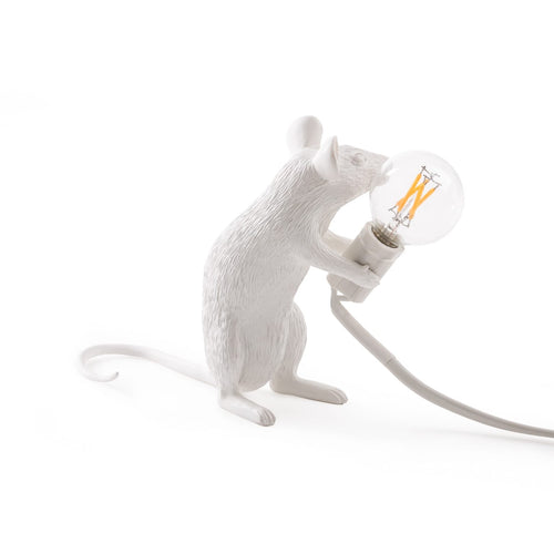 Mouse Lamp White Sitting - UK Plug
