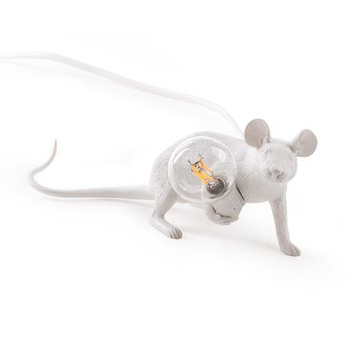 Mouse Lamp White Lying Down - UK Plug