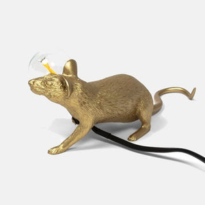Mouse Lamp Gold Lying - UK plug