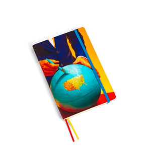 "A5 Notebook ""Man With Globe"" by TOILETPAPER"