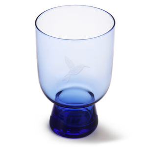Cobalt Glass Engraved With Hummingbird - L