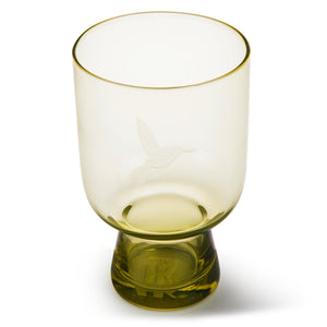 Chartreuse Glass Engraved With Hummingbird - L