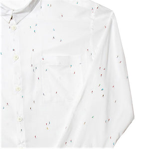 "Womens ""Skiers"" White Cotton Shirt With Miniature Print S"