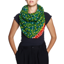 "Load image into Gallery viewer, Zuzunaga ""Bitmap Maze"" Green Scarf"