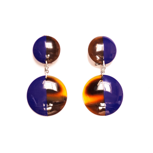Indigo Blue And Hoof Full Double Disc Earrings