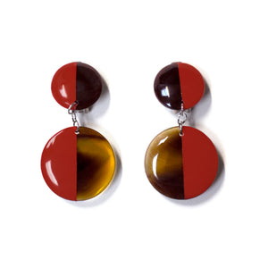 Red Lacquer Full Double Disc Earrings