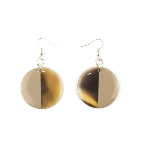 Cream-Coffee Lacquer Full Disc Earrings
