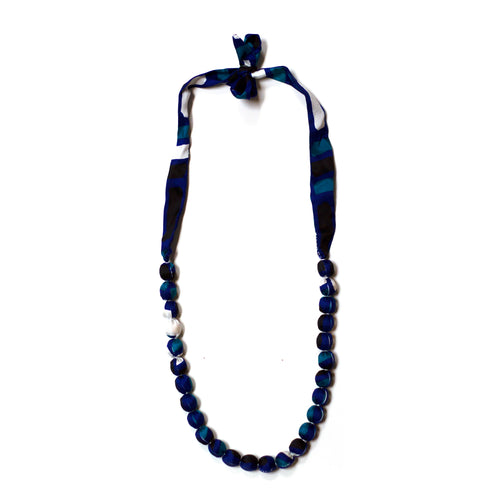 Silk Covered Bead Blue Necklace