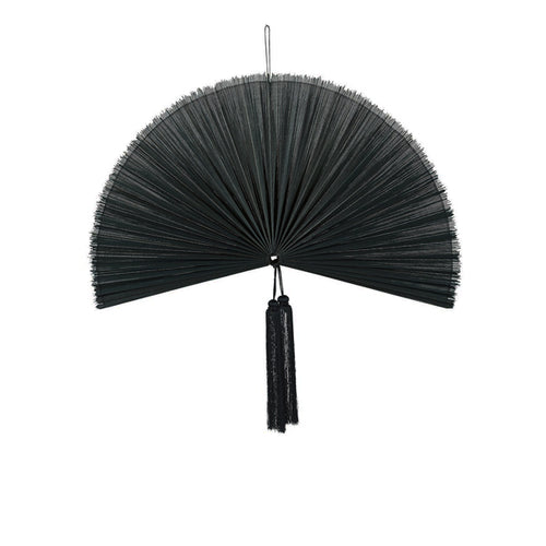 Wallhanging Bamboo Black Fan Small
