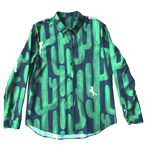 Men's Cotton Shirt with Printed Cactus and Female Legs