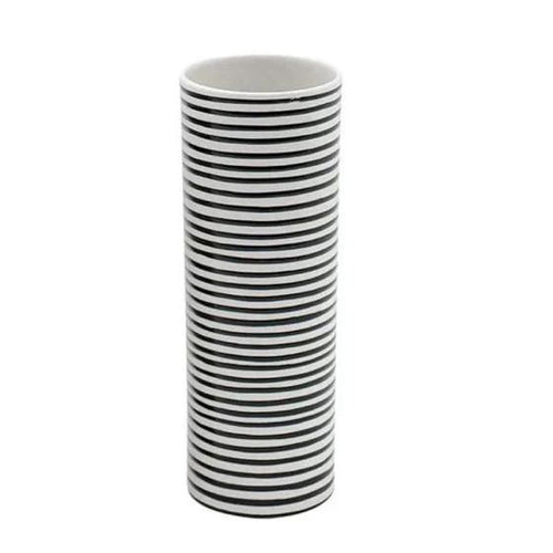 Ceramic Tall Black and White Striped Vase