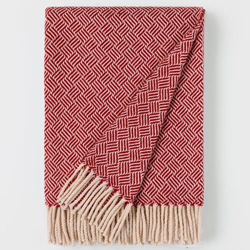 Domino Woolen Woven Blanket White Pearl And Bordeaux