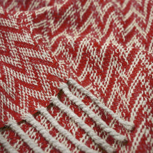 Load image into Gallery viewer, Eclectic Woolen Woven Blanket White Pearl And Red
