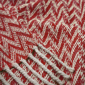 Eclectic Woolen Woven Blanket White Pearl And Red