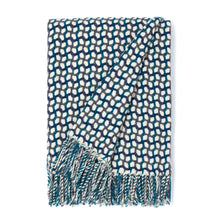 "Load image into Gallery viewer, ""Gathering"" Woolen Woven Blanket White Pearl, Oil Blue And Dark Blue"