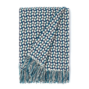 """Gathering"" Woolen Woven Blanket White Pearl, Oil Blue And Dark Blue"